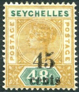 SEYCHELLES-1893 45c on 48c Ochre & Green Sg 20 AVERAGE MOUNTED MINT V28761