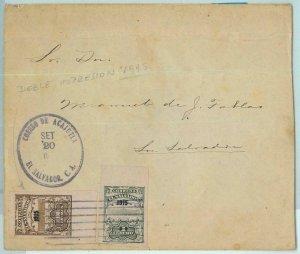 BK0340 - EL SALVADOR -  POSTAL HISTORY -  IMPERF stamps on INTERNAL MAIL COVER