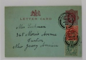 GB Letter postal Card Walsall cancel England 1902 to USA KGV uprated Sc#127 128
