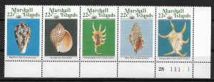 1987 Marshall Islands 156a Sea Shells MNH plate # strip of 5