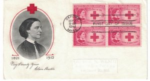 #967 FDC, 3c Clara Barton, Fulton cachet, block of 4