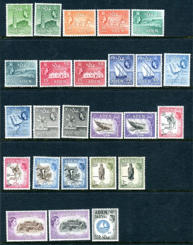 ADEN-1953-63  A lightly mounted mint set to 20/- Sg 48-72