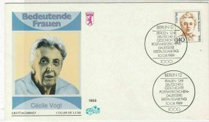 Germany 1989 Famous German Women Cecile Vogt FDC Stamps Cover Ref 24610