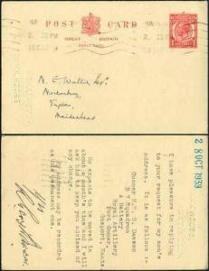 CP95 KGV 1d Carmine Inland Reply Card Format CF13 Stamp L14 Used
