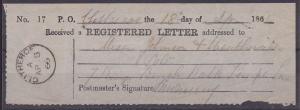 GB 1866 Registered Letter Receipt - CLITHEROE cds...........................1275