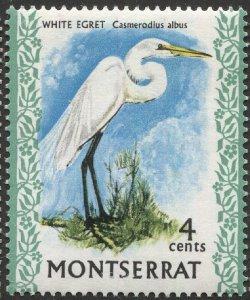 MONTSERRAT 1970  Sc 234  MNH, VF, 4c Egret Bird
