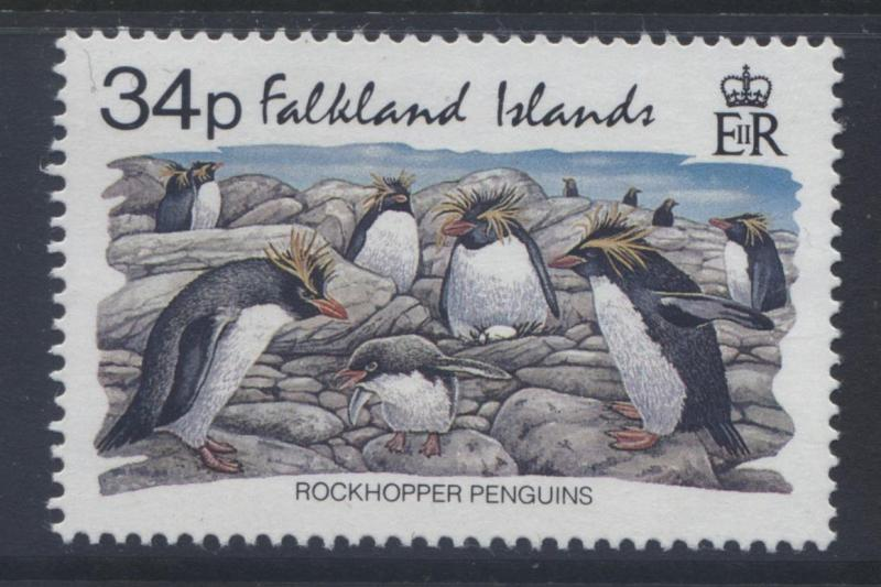 Falkland Is.- Scott 585 - Rockhopper Penguins 1993 - MNH - Single 34p Stamp