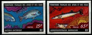 HERRICKSTAMP AFARS & ISSAS Sc.# 437-38 Fish Imperf Stamps