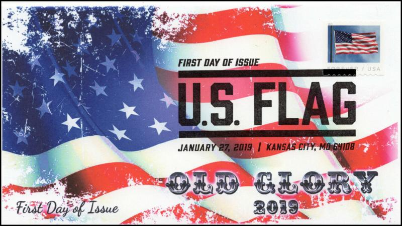 19-0011, 2019, U.S. Flag, Pictorial Postmark, FDC, Coil Stamp,