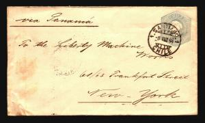Chile 1894 Stationery Cover to NY / Light Side Creasing - Z14684