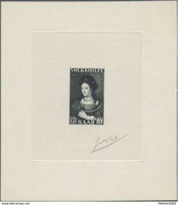 Saar 359 Rembrandt artist signed die proof black. 1956 Art Paintings.