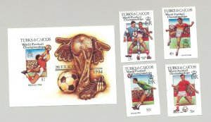 Turks & Caicos 1986 World Cup Soccer 4v & 1v S/S Imperf Proofs, Unissued