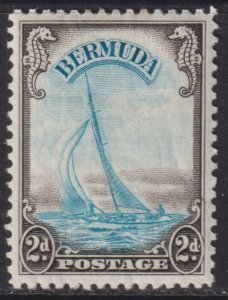 1938 Bermuda Yacht Lucie 2 pence issue MLMH Sc# 109 CV $52.50 Stk #3