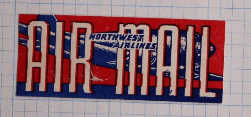 Airmail Etiquette Label seal Northwest NW Airline airways ad used stamp