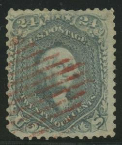 #70b 24c 1861 STEEL BLUE F-VF USED (APP) RED GRID CANCEL CV $950 AU653