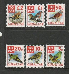 Gibraltar 2002 Postage dues, Finches, UM/MNH ( 10p is MM ) SG D26/31