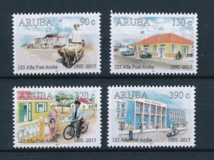 [80936] Aruba 2017 125 Year post Postman Postoffice Bicycle Motorcycle Flag MNH
