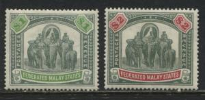 Federated Malay States 1901 $1 and $2  mint o.g.