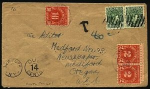 NIGERIA 1940s Taxed cover to USA - GVI ½d(2) mute bars cancel of Lagos.....98395