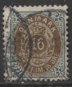 Denmark - Scott 47a - Definitive Issue -1895 - Used - Single 16s Stamp