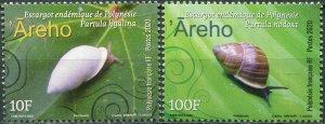 French Polynesia 2020. Endemic Snails (MNH OG) Set of 2 stamps