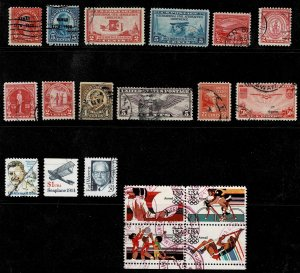 Collection of 19 Used United States Regular Issues and Air Mail Issues