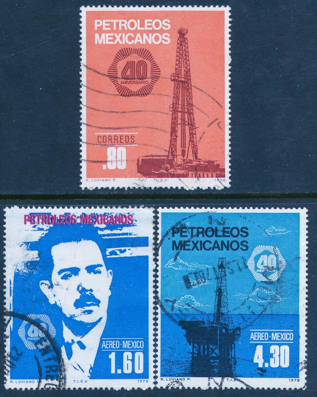 MEXICO 1161, C556-C557, 40th Anniv Nationalization of Oil Industry USED (814)