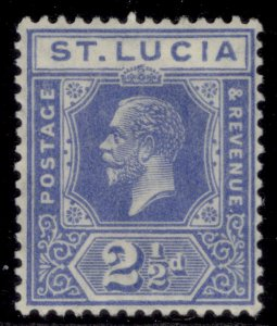 ST. LUCIA GV SG96, 2½d bright blue, M MINT.