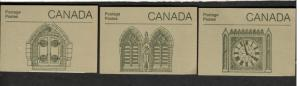 1985 Canada 3 booklets PEACE TOWER  HOUSE OF COMMONS  WAR MEMORIAL MNH