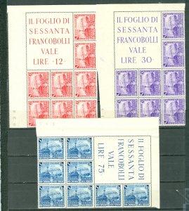 ITALY 1939 LOCOMOTIVES #410-412...SET UL CORNER BLKS WITH IMPRINTS...MNH $128.