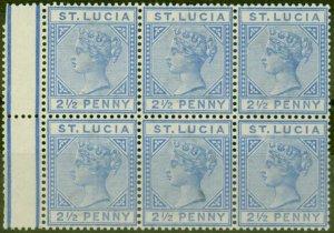 St Lucia 1891 2 1/2d Ultramarine SG46 Fine MNH Block of 6