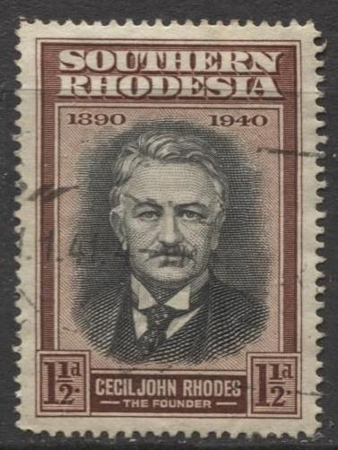 Southern Rhodesia- Scott 58 -Cecil John Rhodes -1940 - Used -Single 1.1/2d Stamp