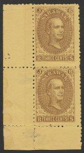 SARAWAK 1869 Brooke 3c brown/yellow mint with gum pair