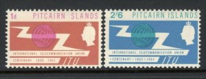 Pitcairn 1965 ITU Set The 2/6 High Value With Inverted Watermark MNH