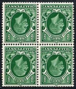 SG439Wi 1/2d Green Photogravure Wmk INVERTED Block of Four 3 x U/M