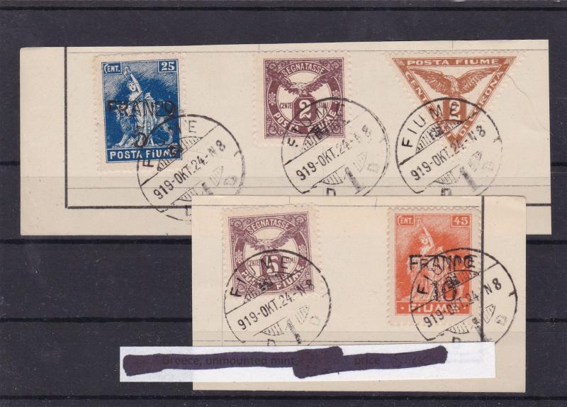 fiume 1919 surcharge postage due stamps cat £25+ ref 10222