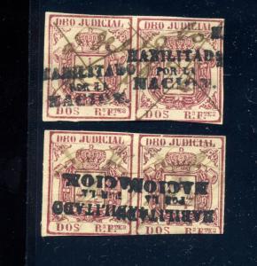 Spain & Colonies DRO JUDICIAL Imperf Stamps RARE H/S HABILITADO POR LA NACION
