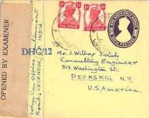 India 1a KGVI (2) on 1 1/2a KGVI Envelope c1942 Lucknow to Peekskill, N.Y.  I...