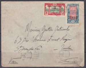 Chad 43 & Gabon 102 (SCV$48.50+) dual country franking to France, 1934