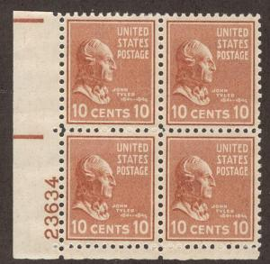 UNITED STATES SC# 815 EF MNH 1938 Plate #23634 Block of 4