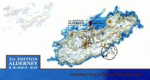 Alderney 2017 FDC 1st Ed Alderney & Burhou Map 1v M/S Cover Island Shaped Stamps