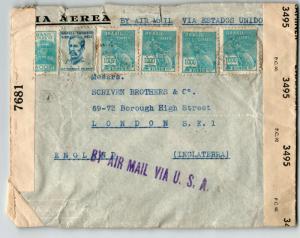Brazil 1943 Dual Censor Cover to UK / Via US Airmail / Sm Top Tears - Z13654