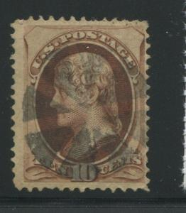 1870 US Stamp #139 10c Used F/VF H. Grill Fancy Cancel Catalogue Value $800