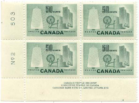 Canada - 1953 50c Textile Industry Plate 2 LL Block mint #334 - UR Stamp H O/WNH