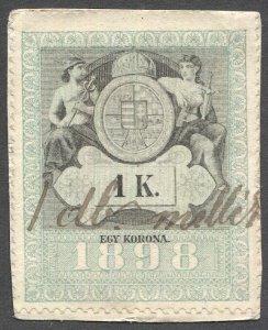 HUNGARY 1898 1kr Revenue Bft 176 Used on piece, Unlisted Watermark Error