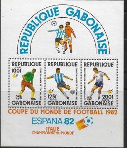 GABON  513a MNH 1982 WORLD CUP SOUVENIR SHEET
