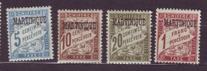 J23806 JLstamps 1927 french martinique mh/mhr #j15-7,j23 ovpt,s