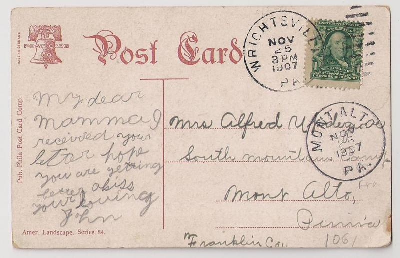 1c Green #300 mailed Wrightsville PA 1907 Mont Alto PA rec.