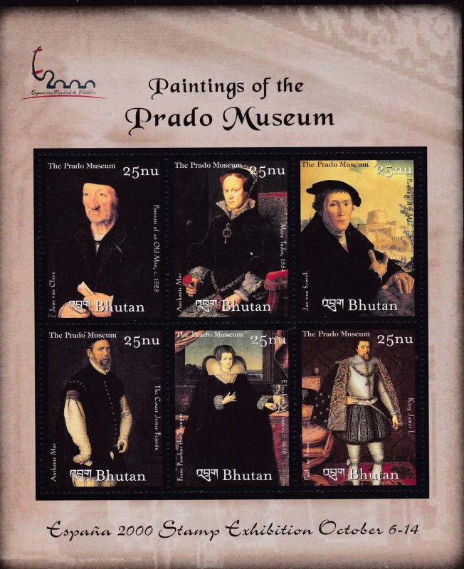 Bhutan 2000 Paintings From  Prado Museum All 6 Sheet forms. Beautiful ART VF/NH