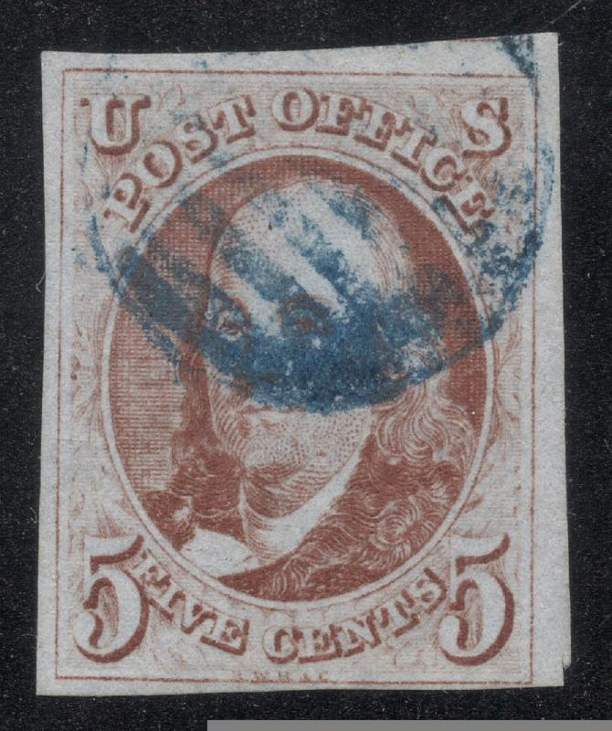 US#1 Red Brown - Blue Grid Cancel